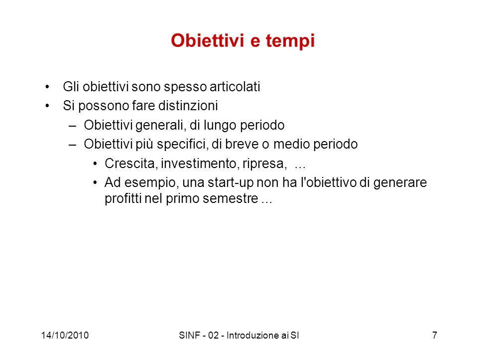 14/10/2010SINF - 02 - Introduzione ai SI7 Obiettivi e tempi Gli obiettivi sono spesso articolati Si possono fare distinzioni –Obiettivi generali, di l