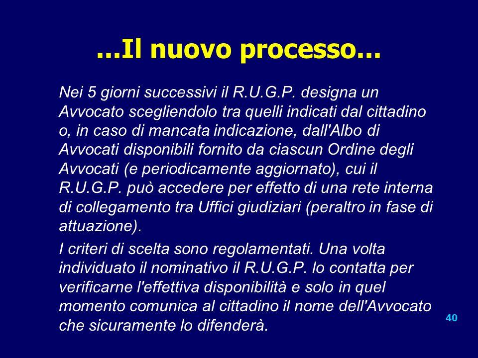 40...Il nuovo processo...Nei 5 giorni successivi il R.U.G.P.