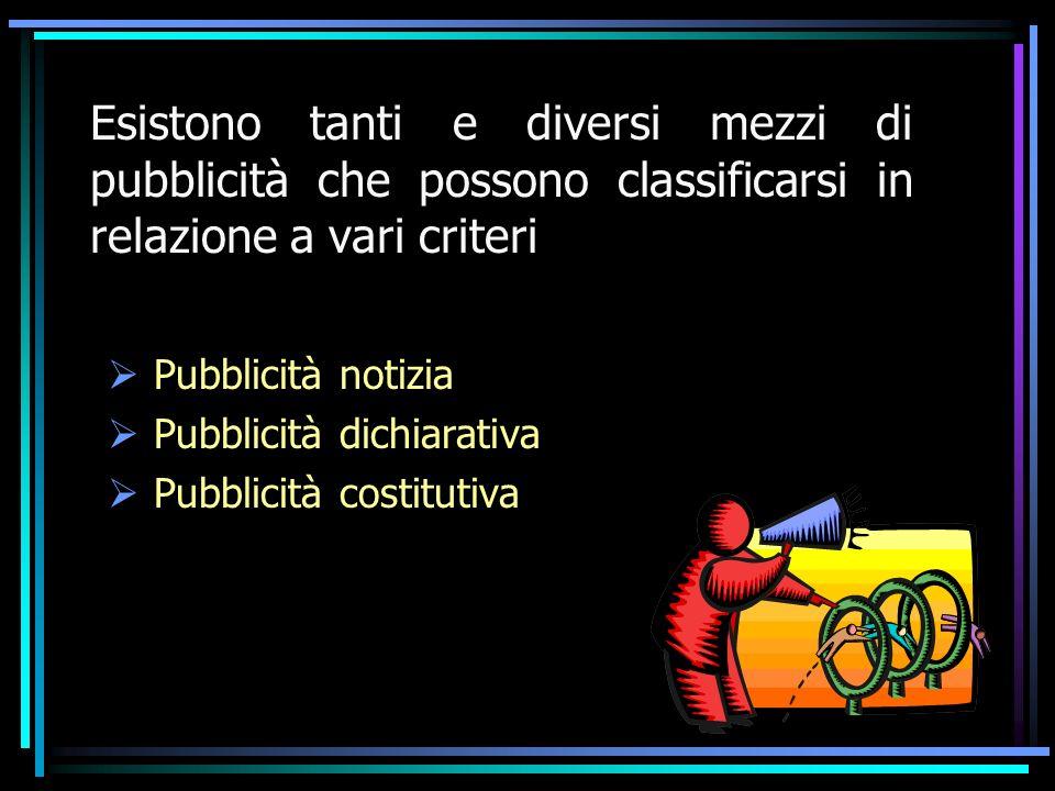 Esistono tanti e diversi mezzi di pubblicità che possono classificarsi in relazione a vari criteri Pubblicità notizia Pubblicità dichiarativa Pubblicità costitutiva