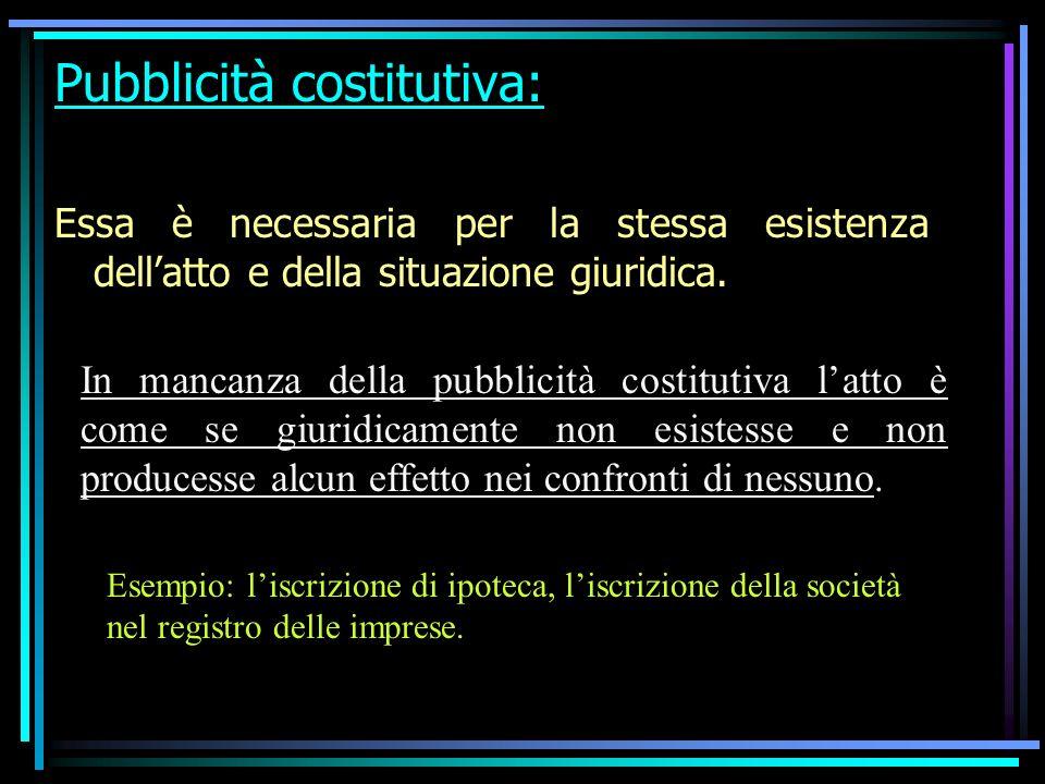 Pubblicità costitutiva: Essa è necessaria per la stessa esistenza dellatto e della situazione giuridica.