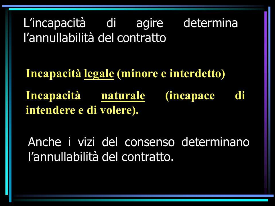 Lincapacità di agire determina lannullabilità del contratto Anche i vizi del consenso determinano lannullabilità del contratto. Incapacità legale (min