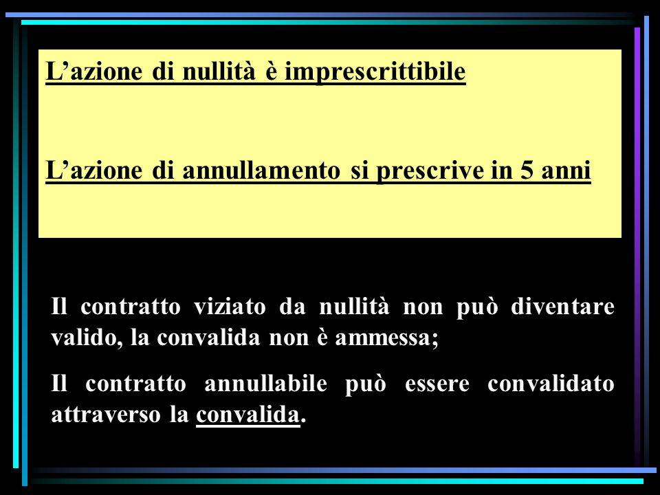 Lazione di nullità è imprescrittibile Lazione di annullamento si prescrive in 5 anni Il contratto viziato da nullità non può diventare valido, la convalida non è ammessa; Il contratto annullabile può essere convalidato attraverso la convalida.