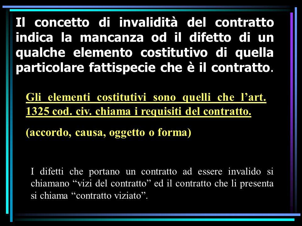 Il concetto di invalidità del contratto indica la mancanza od il difetto di un qualche elemento costitutivo di quella particolare fattispecie che è il contratto.