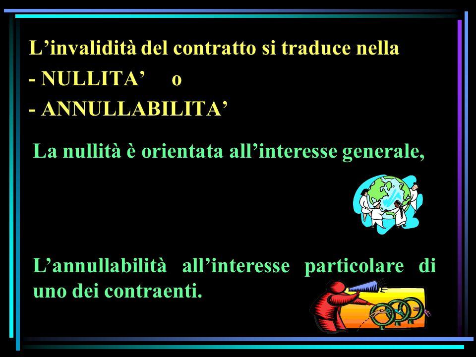 Linvalidità del contratto si traduce nella - NULLITA o - ANNULLABILITA La nullità è orientata allinteresse generale, Lannullabilità allinteresse particolare di uno dei contraenti.