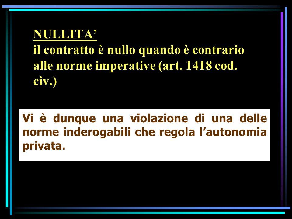 Più precisamente, la nullità del contratto nasce per effetto: - della mancanza dei requisiti indicati dallart.