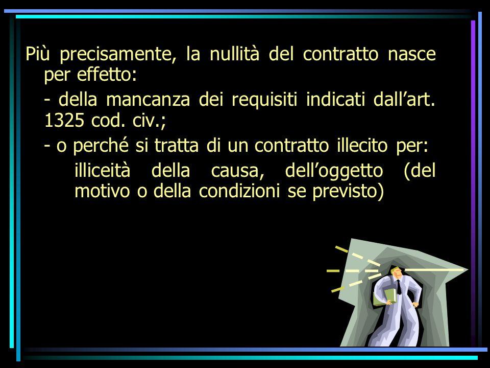 Un oggetto è illecito quando le prestazioni contrattuali sono in sé contrarie alla legge; Una causa è illecita quando è contrario alla legge lo scambio delle prestazioni; Un motivo è illecito quando è comune ad entrambe le parti.