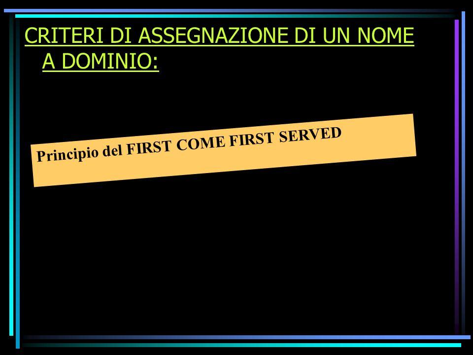 CRITERI DI ASSEGNAZIONE DI UN NOME A DOMINIO: Principio del FIRST COME FIRST SERVED