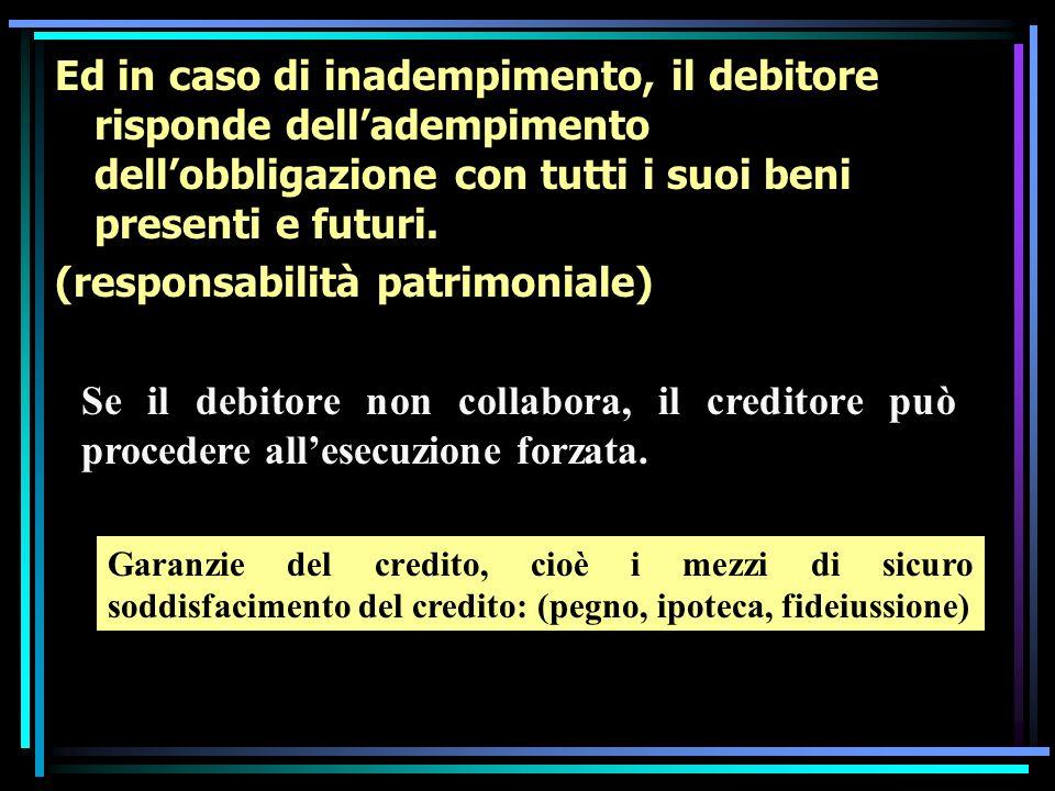 Ed in caso di inadempimento, il debitore risponde delladempimento dellobbligazione con tutti i suoi beni presenti e futuri.