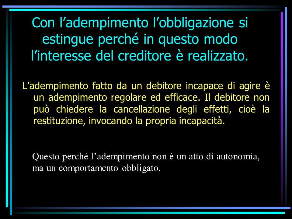 Con ladempimento lobbligazione si estingue perché in questo modo linteresse del creditore è realizzato.