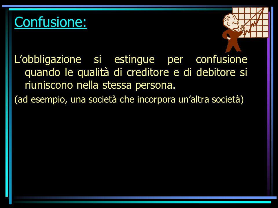 Confusione: Lobbligazione si estingue per confusione quando le qualità di creditore e di debitore si riuniscono nella stessa persona.