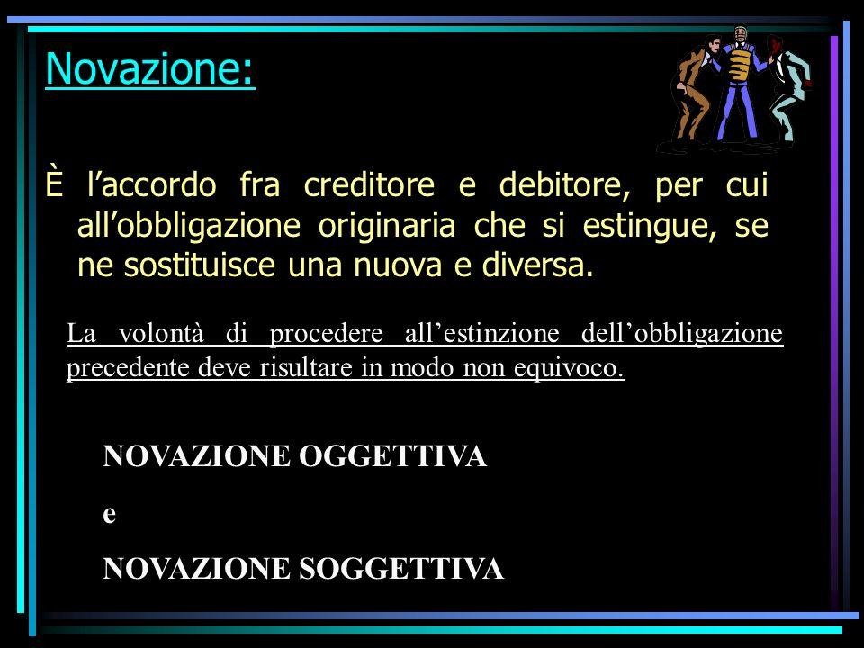 Novazione: È laccordo fra creditore e debitore, per cui allobbligazione originaria che si estingue, se ne sostituisce una nuova e diversa.