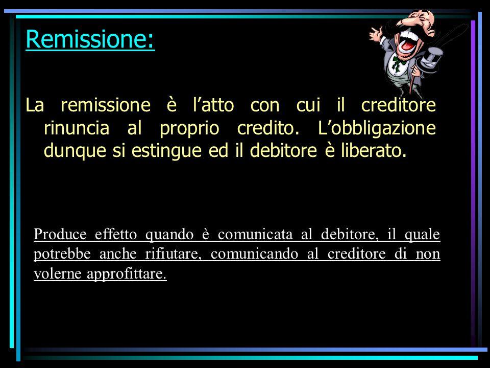 Remissione: La remissione è latto con cui il creditore rinuncia al proprio credito.