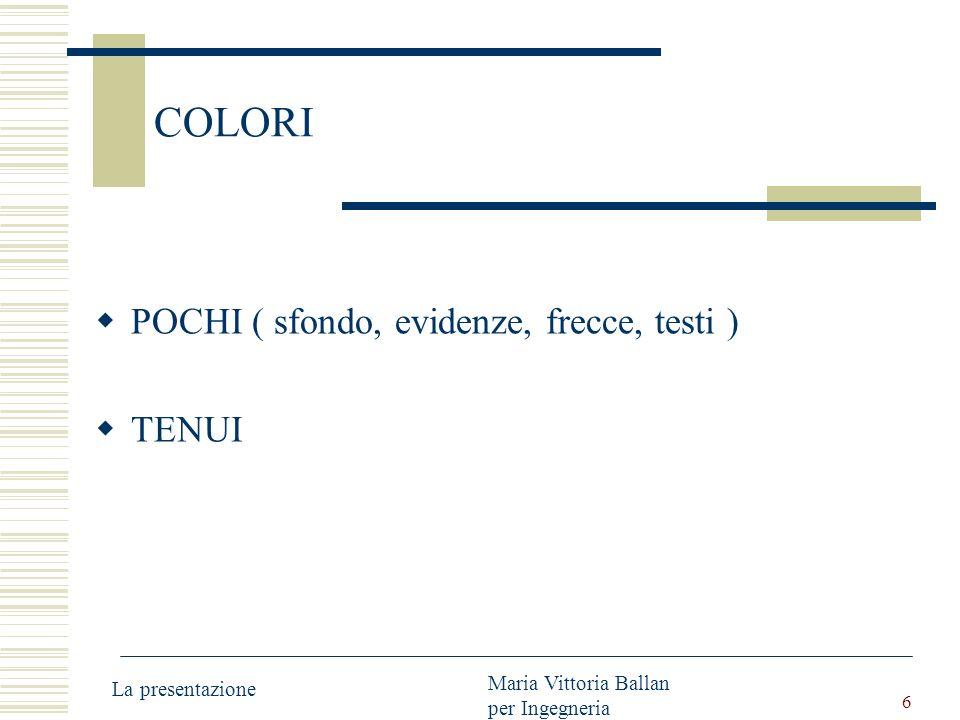 6 COLORI POCHI ( sfondo, evidenze, frecce, testi ) TENUI La presentazione Maria Vittoria Ballan per Ingegneria