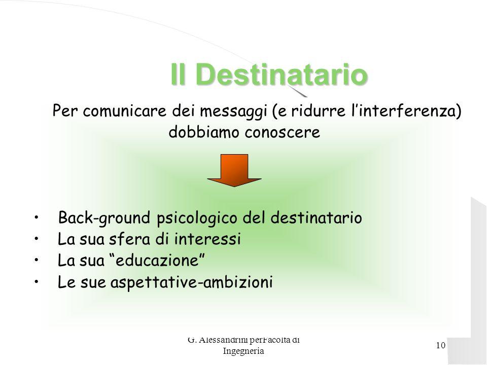 G. Alessandrini perFacoltà di Ingegneria 9 Comunicare Comunicare Trasmettere chi comunica è una fonte di trasmissione Veicolo di trasmissione è il mez