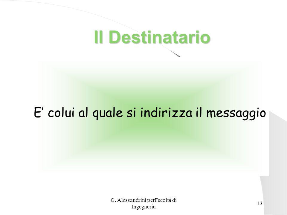 G. Alessandrini perFacoltà di Ingegneria 12 Il Destinatario Tuttavia bisogna concedere al destinatario il tempo di assimilare il messaggio e di reagir