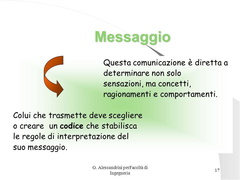 G. Alessandrini perFacoltà di Ingegneria 16 Fonte di Trasmissione Le interferenze che il messaggio può incontrare durante il tragitto.