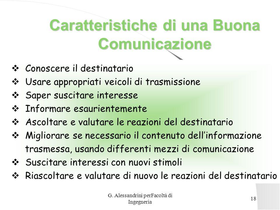G. Alessandrini perFacoltà di Ingegneria 17 Messaggio Questa comunicazione è diretta a determinare non solo sensazioni, ma concetti, ragionamenti e co