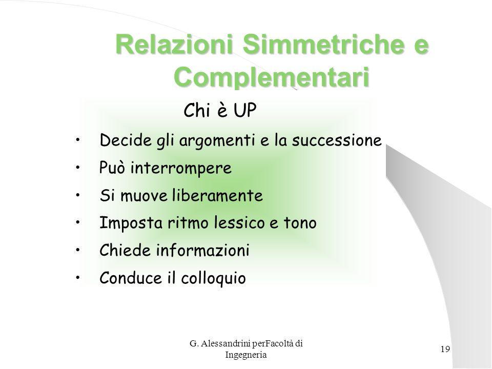 G. Alessandrini perFacoltà di Ingegneria 18 Caratteristiche di una Buona Comunicazione Conoscere il destinatario Usare appropriati veicoli di trasmiss