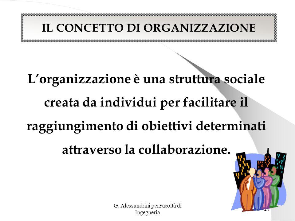 G. Alessandrini perFacoltà di Ingegneria 26 SECONDO MODULO La comunicazione organizzativa