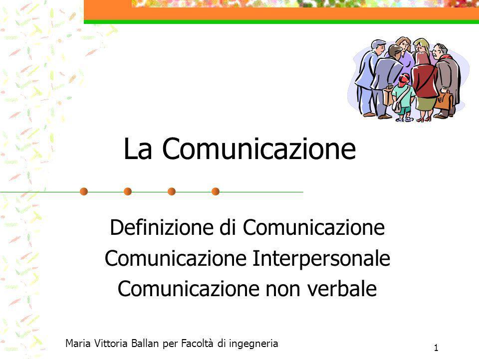 1 La Comunicazione Definizione di Comunicazione Comunicazione Interpersonale Comunicazione non verbale Maria Vittoria Ballan per Facoltà di ingegneria