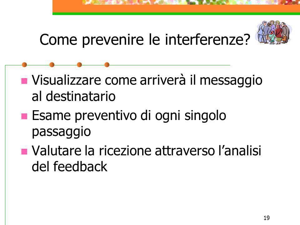 19 Come prevenire le interferenze? Visualizzare come arriverà il messaggio al destinatario Esame preventivo di ogni singolo passaggio Valutare la rice