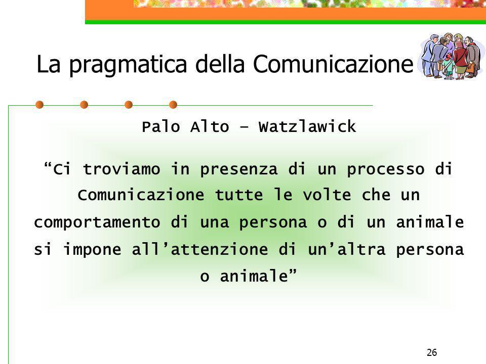 26 La pragmatica della Comunicazione Palo Alto – Watzlawick Ci troviamo in presenza di un processo di Comunicazione tutte le volte che un comportament