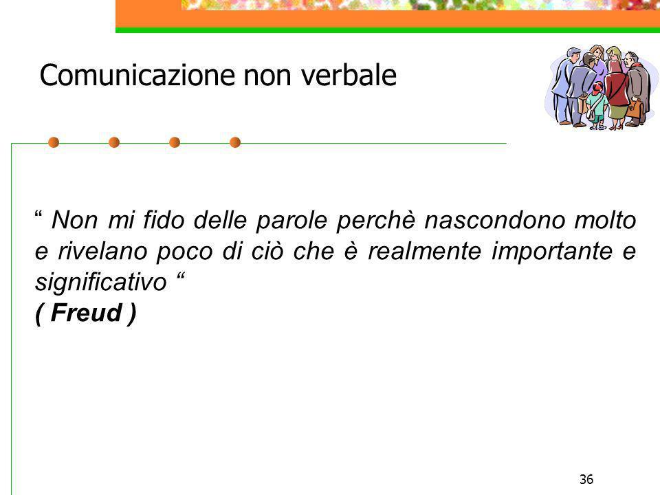 36 Non mi fido delle parole perchè nascondono molto e rivelano poco di ciò che è realmente importante e significativo ( Freud ) Comunicazione non verb