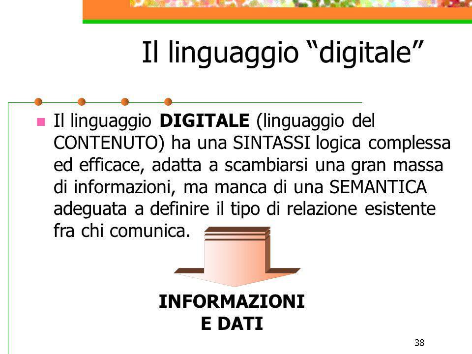 38 Il linguaggio digitale Il linguaggio DIGITALE (linguaggio del CONTENUTO) ha una SINTASSI logica complessa ed efficace, adatta a scambiarsi una gran