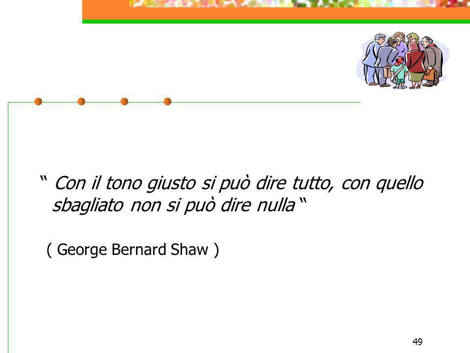 49 Con il tono giusto si può dire tutto, con quello sbagliato non si può dire nulla ( George Bernard Shaw )
