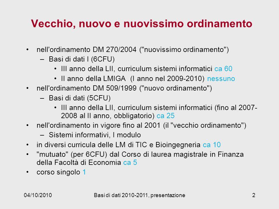 04/10/2010Basi di dati 2010-2011, presentazione2 Vecchio, nuovo e nuovissimo ordinamento nell'ordinamento DM 270/2004 (
