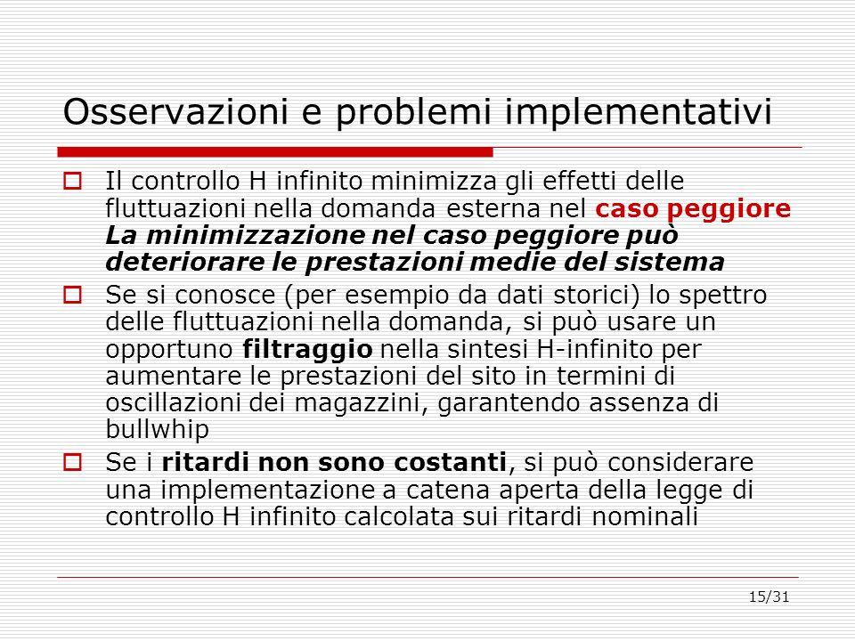15/31 Osservazioni e problemi implementativi Il controllo H infinito minimizza gli effetti delle fluttuazioni nella domanda esterna nel caso peggiore