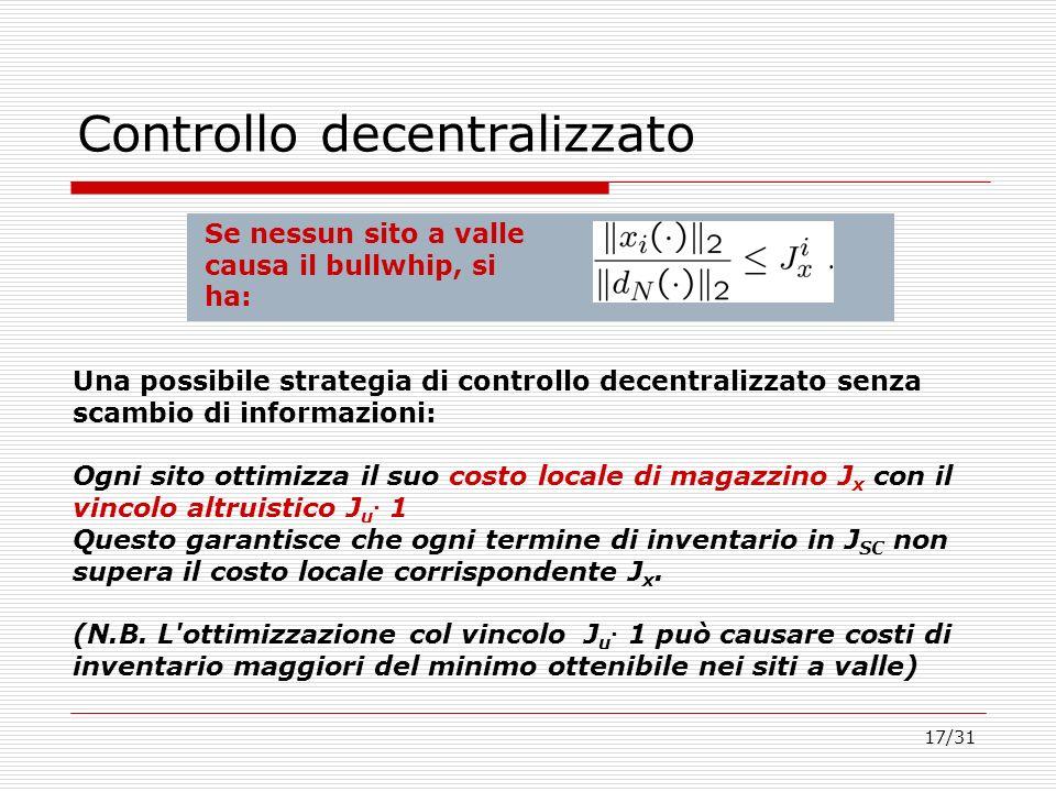 17/31 Controllo decentralizzato Una possibile strategia di controllo decentralizzato senza scambio di informazioni: Ogni sito ottimizza il suo costo l