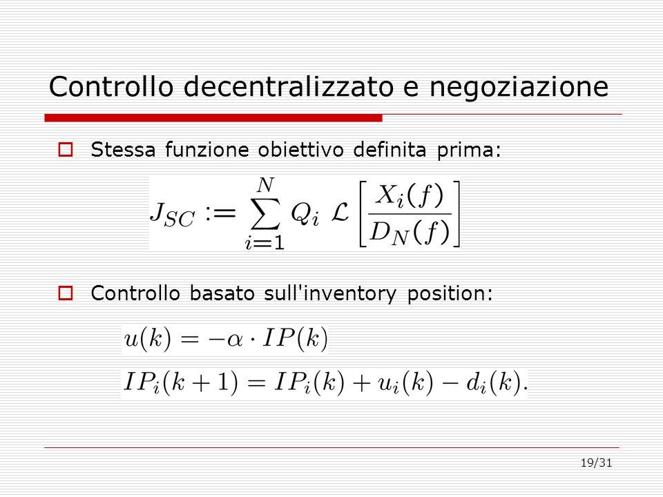 19/31 Controllo decentralizzato e negoziazione Controllo basato sull'inventory position: Stessa funzione obiettivo definita prima: