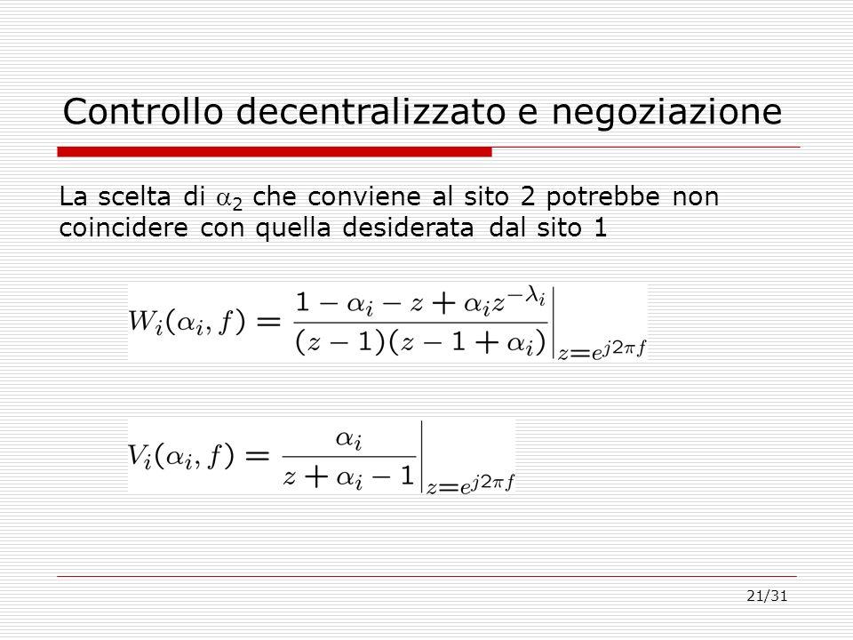 21/31 Controllo decentralizzato e negoziazione La scelta di 2 che conviene al sito 2 potrebbe non coincidere con quella desiderata dal sito 1