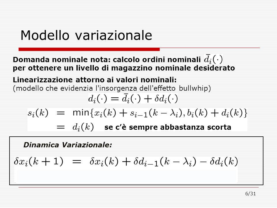6/31 Modello variazionale Domanda nominale nota: calcolo ordini nominali per ottenere un livello di magazzino nominale desiderato Linearizzazione atto