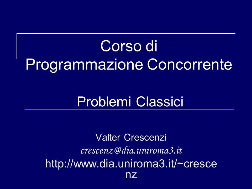 Soluzione al Barbiere Dormiente concurrent program BARBIERE_DORMIENTE; type barbiere = concurrent procedure ; begin /* … */ end type cliente = concurrent procedure ; begin /* … */ end var Dormiente : barbiere ; var CLIENTE array [0..NUM_CLIENTI] of cliente var C, MX, B : semaforo ; var N = 5 ; var in_attesa : intero; begin INIZ_SEM(MX,1); INIZ_SEM(C,0); INIZ_SEM(B,0); fork Dormiente ; for J 0 to NUM_CLIENTI do fork CLIENTE[J]; for J 0 to NUM_CLIENTI do join CLIENTE[J]; join Dormiente ; end