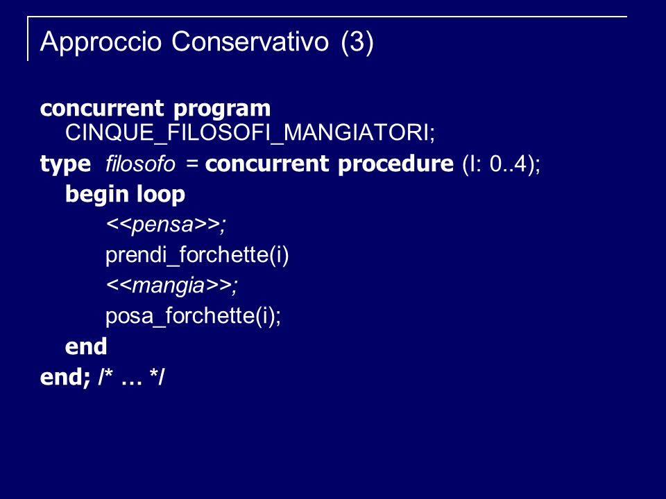 Approccio Conservativo (3) concurrent program CINQUE_FILOSOFI_MANGIATORI; type filosofo = concurrent procedure (I: 0..4); begin loop >; prendi_forchette(i) >; posa_forchette(i); end end; /* … */