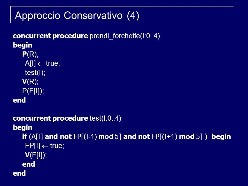 concurrent procedure prendi_forchette(I:0..4) begin P(R); A[I] true; test(I); V(R); P(F[I]); end concurrent procedure test(I:0..4) begin if (A[ I ] and not FP[( I-1) mod 5 ] and not FP[( I+1 ) mod 5] ) begin FP[I] true; V(F[I]); end Approccio Conservativo (4)
