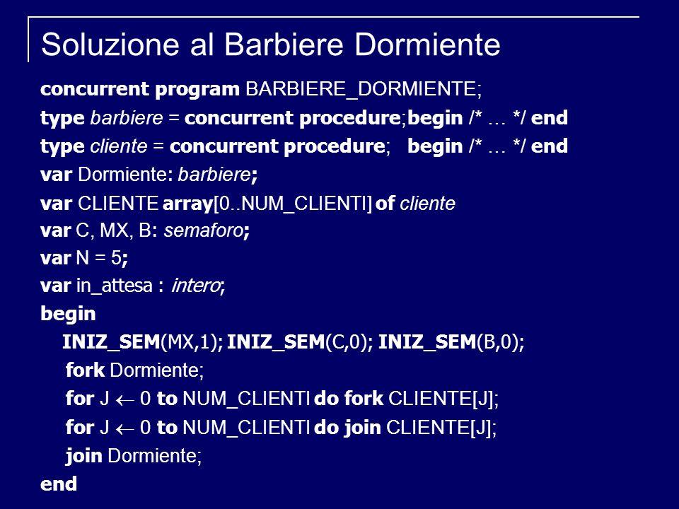 Soluzione al Barbiere Dormiente concurrent program BARBIERE_DORMIENTE; type barbiere = concurrent procedure ; begin /* … */ end type cliente = concurr