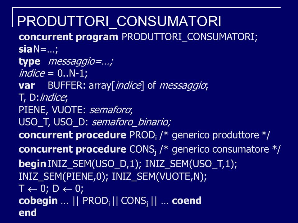 PRODUTTORI_CONSUMATORI concurrent program PRODUTTORI_CONSUMATORI; siaN=…; type messaggio=…; indice = 0..N-1; varBUFFER: array[indice] of messaggio; T, D:indice; PIENE, VUOTE: semaforo; USO_T, USO_D: semaforo_binario; concurrent procedure PROD i /* generico produttore */ concurrent procedure CONS j /* generico consumatore */ beginINIZ_SEM(USO_D,1); INIZ_SEM(USO_T,1); INIZ_SEM(PIENE,0); INIZ_SEM(VUOTE,N); T 0; D 0; cobegin … || PROD i || CONS j || … coend end