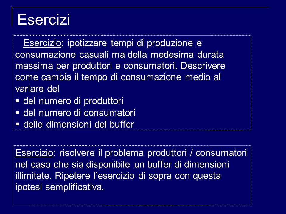 Esercizi Esercizio: ipotizzare tempi di produzione e consumazione casuali ma della medesima durata massima per produttori e consumatori.