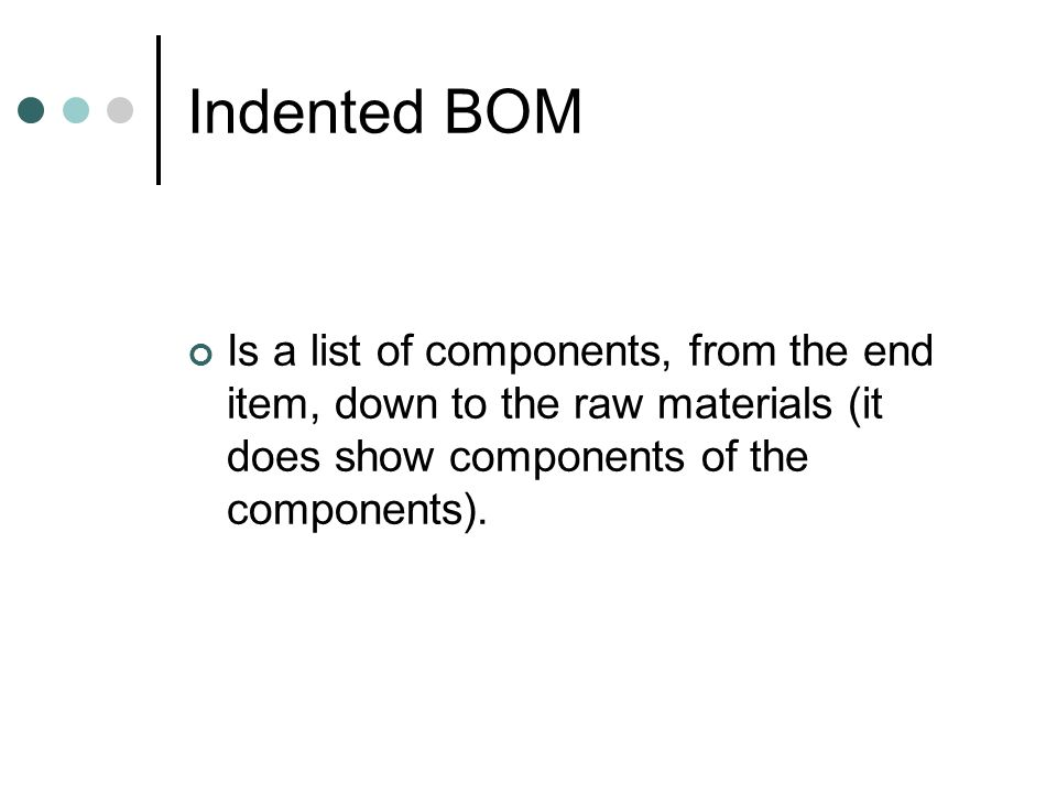 Indented BOM Is a list of components, from the end item, down to the raw materials (it does show components of the components).