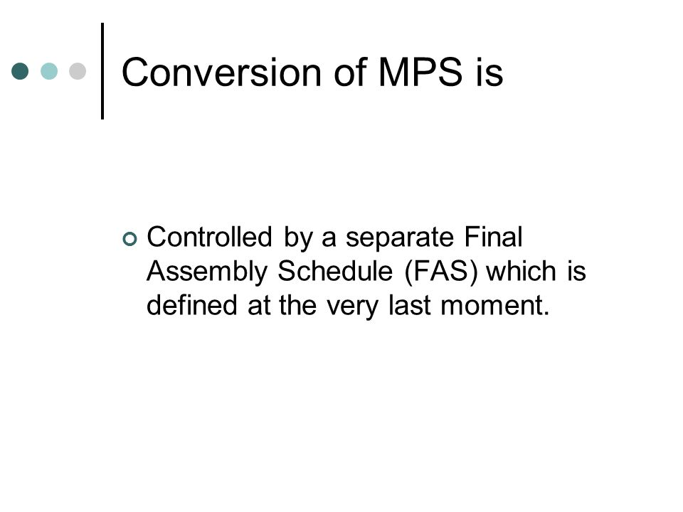 Managing the MPS Start by having a realistic MPS Stability and proper buffering are important to remove all the excuses for not attaining the performance for which the proper budget has been provided.