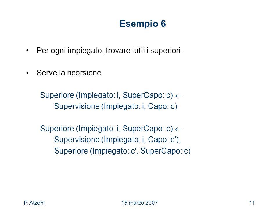 P. Atzeni15 marzo 200711 Esempio 6 Per ogni impiegato, trovare tutti i superiori. Serve la ricorsione Superiore (Impiegato: i, SuperCapo: c) Supervisi
