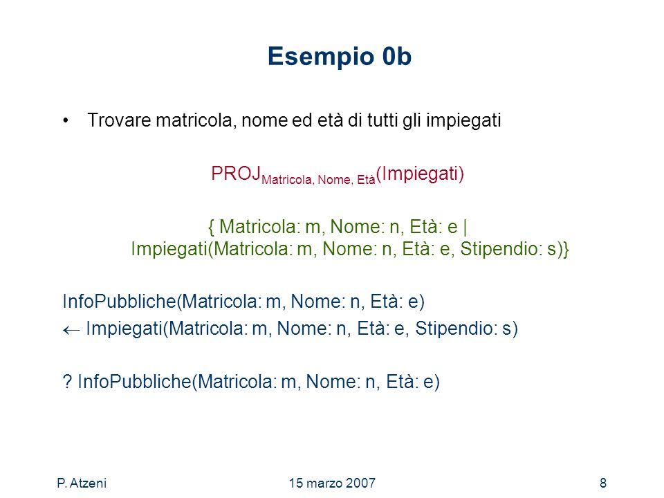 P. Atzeni15 marzo 20078 Esempio 0b Trovare matricola, nome ed età di tutti gli impiegati PROJ Matricola, Nome, Età (Impiegati) { Matricola: m, Nome: n