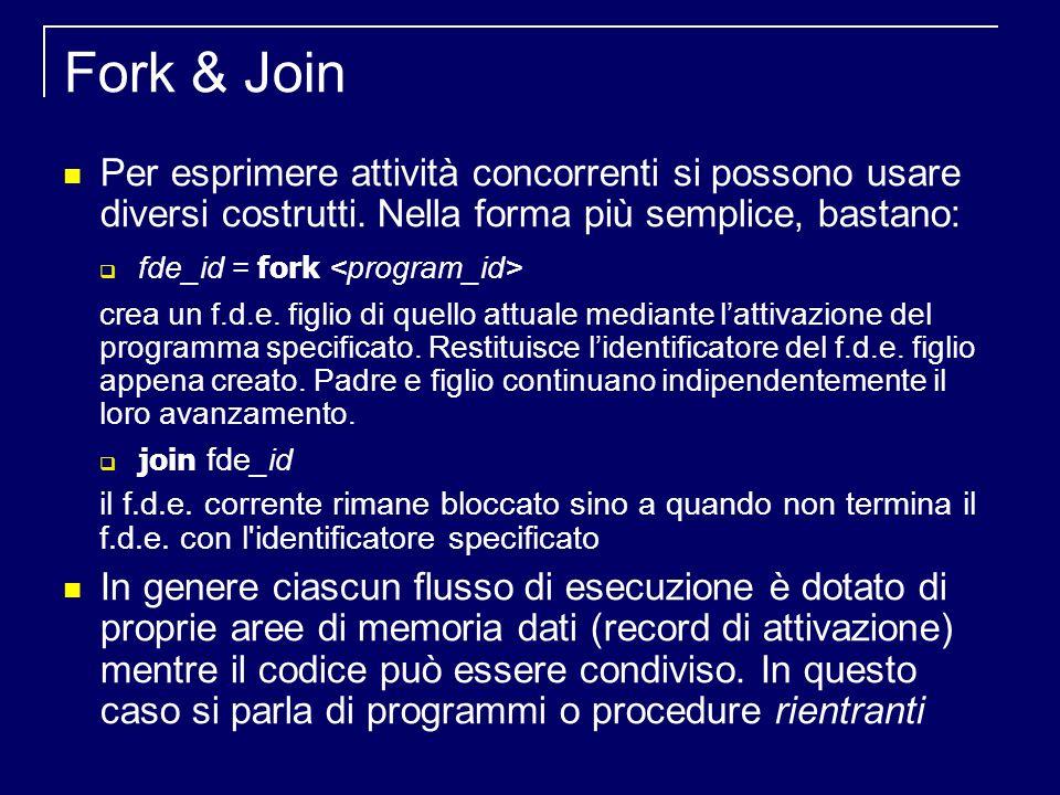 Fork & Join Per esprimere attività concorrenti si possono usare diversi costrutti.