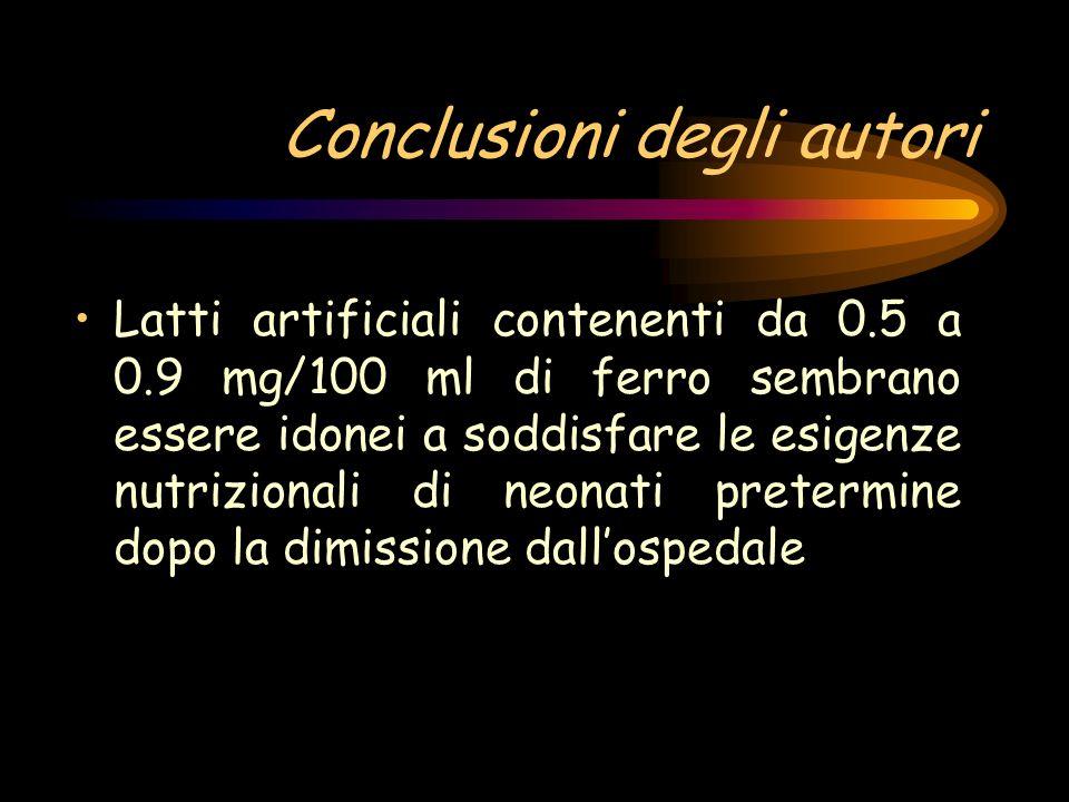 Conclusioni degli autori Latti artificiali contenenti da 0.5 a 0.9 mg/100 ml di ferro sembrano essere idonei a soddisfare le esigenze nutrizionali di