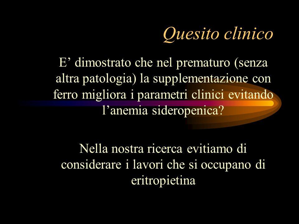 Quesito clinico E dimostrato che nel prematuro (senza altra patologia) la supplementazione con ferro migliora i parametri clinici evitando lanemia sid