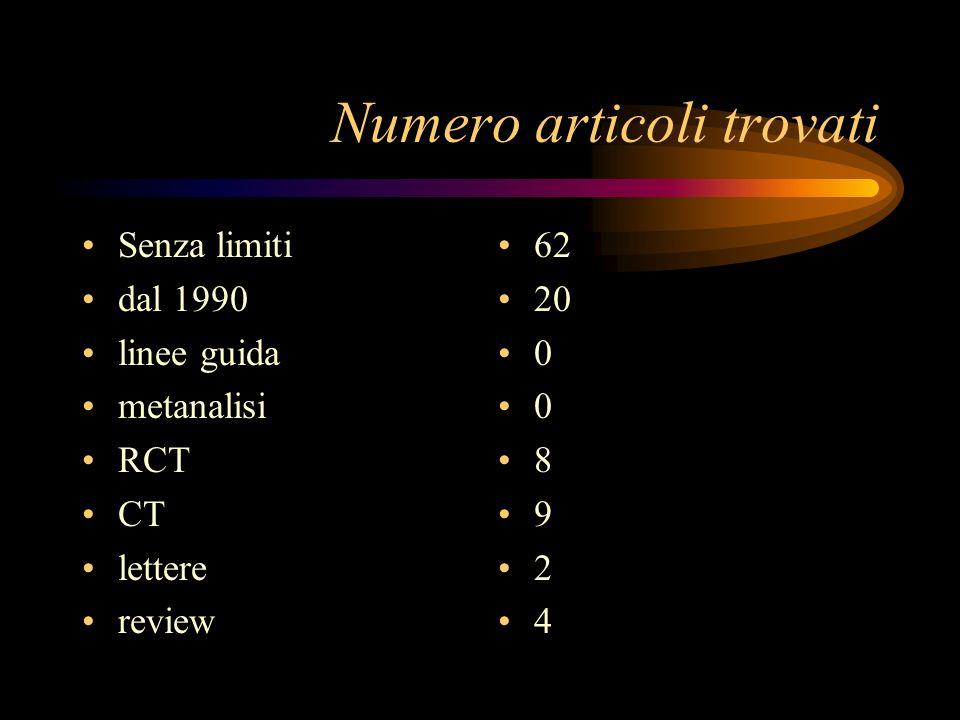 Numero articoli trovati Senza limiti dal 1990 linee guida metanalisi RCT CT lettere review 62 20 0 0 8 9 2 4