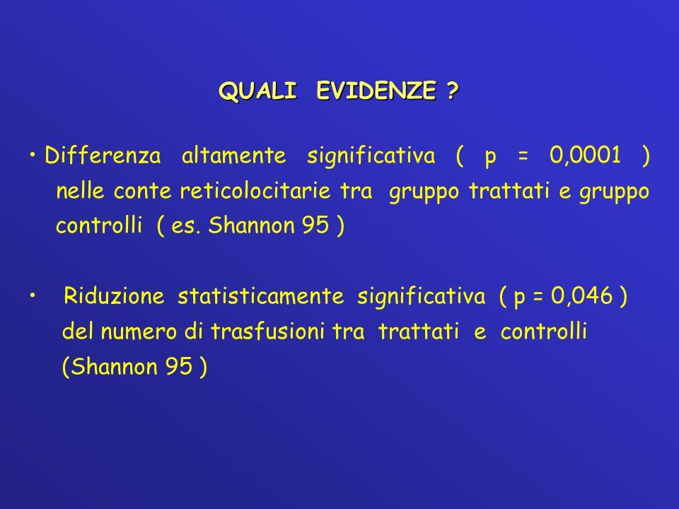 QUALI EVIDENZE ? Differenza altamente significativa ( p = 0,0001 ) nelle conte reticolocitarie tra gruppo trattati e gruppo controlli ( es. Shannon 95